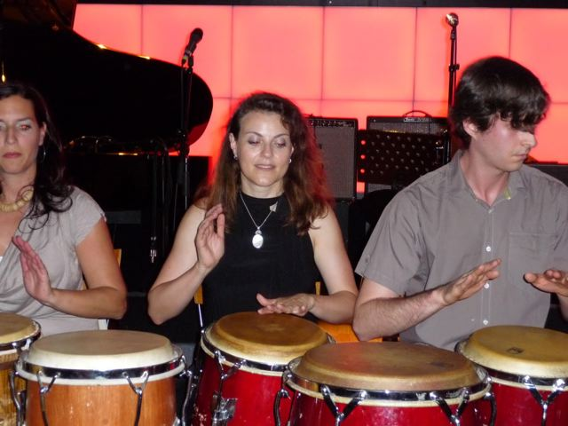 Sandra on congas