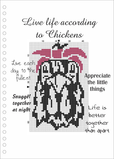 A4 Wood book -Live Life according to chickens
