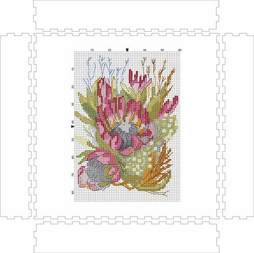 Wall Art Block -Protea Bush