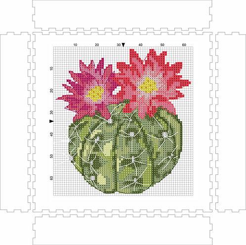 Wall Art Block - Cactus Flower 2