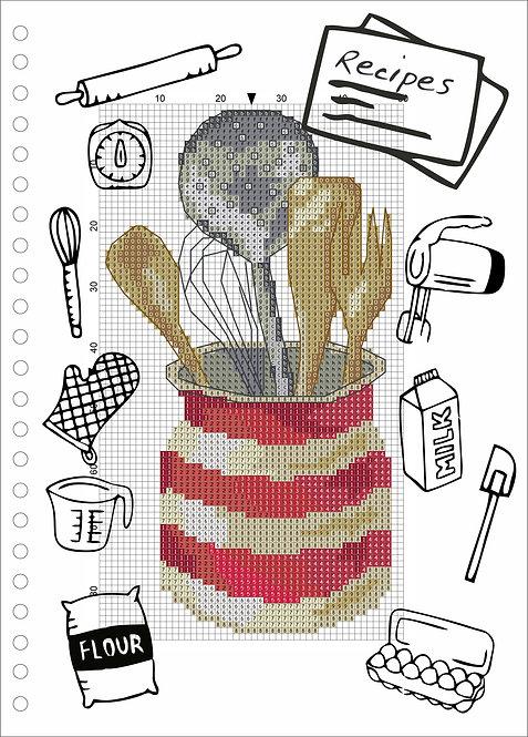 A4 Wood Book -Kitchen Utensils Red
