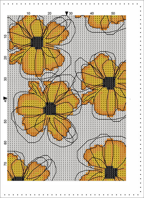 A5 Leather - Yellow flowers