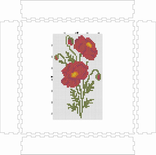 Wall Art Block - Flower Red