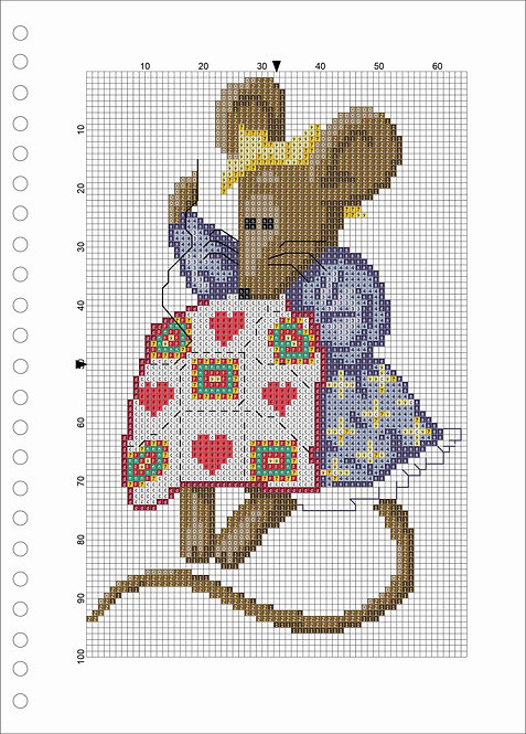 A4 Wood book - Mouse With Quilt Blue