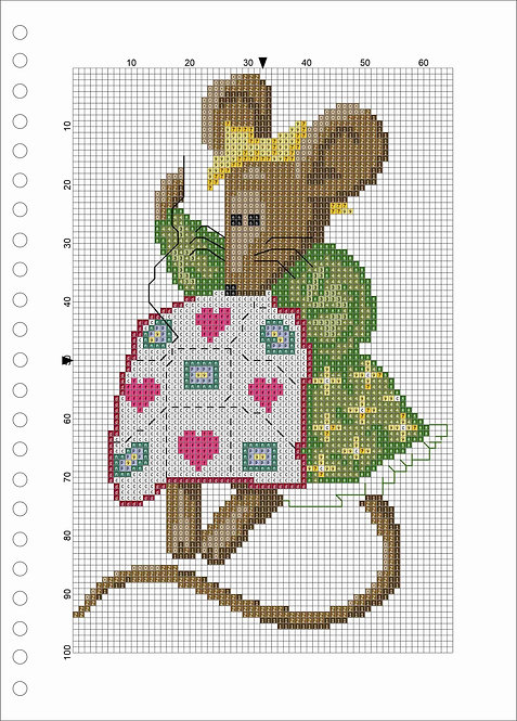 A4 Wood book - Mouse With Quilt Green