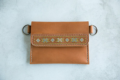 Leather Belt Purse Cross Stitched 1