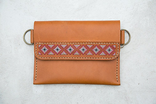 Leather Belt Purse Cross Stitched 2