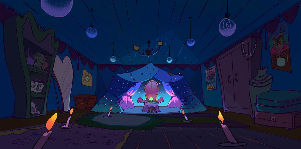 High Tail Fortune Teller Shop Background Painting
