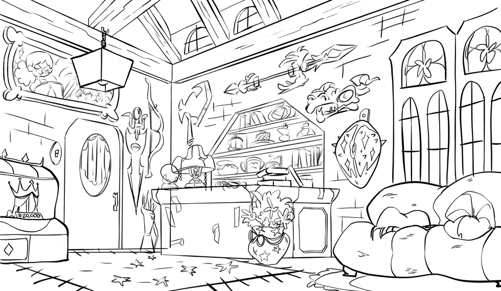 Magical Shop Line Art
