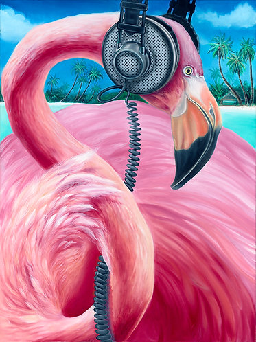 """DJ Flamingo"" 20x24 Silver Rag Giclee by Monte Livingston"