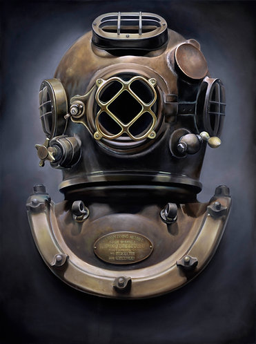 """Dive Helmet"" 20x24 Silver Rag Giclee by Monte Livingston"
