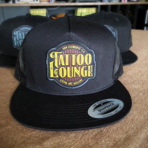 Tattoo Lounge - Black Trucker Hat/Tan Logo