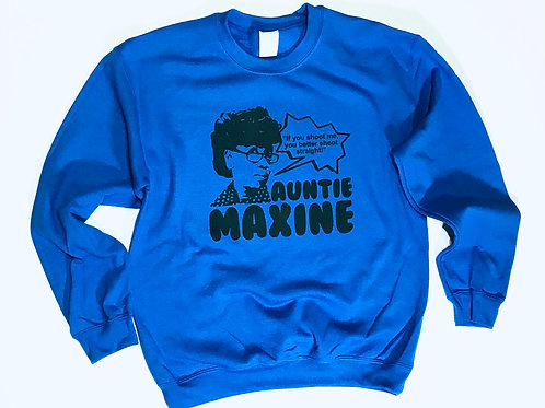 "Auntie Maxine ""Shoot Straight"" Blue Wave Sweater"