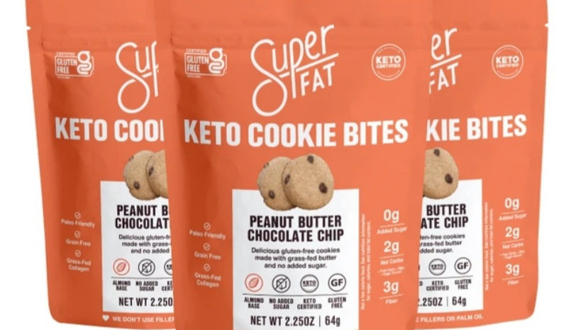 美國SUPER FAT Keto Peanut Butter Chocolate Chip 生酮花生醬朱古力粒迷你曲奇 64g