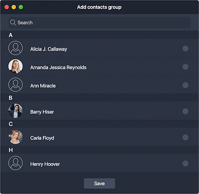 Create Contacts group In Contacts tab you can get together different contacts into one group.