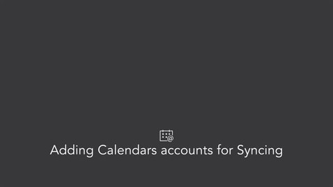 Adding Calendars accounts for Syncing