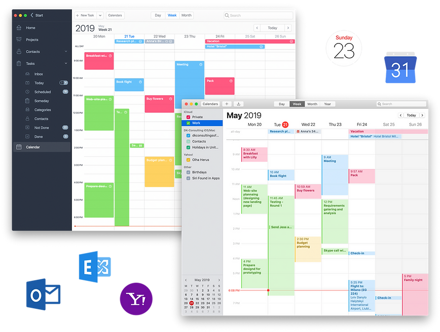 Connect all of your calendars to Task Office. The two-way syncing works with Apple iCal, Google Calendar, Exchange, Yahoo, Outlook and others. Once you've set up your connection, everything updates automatically