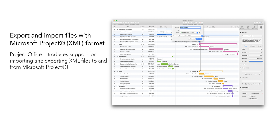 Export and Import Microsoft Project® XML files with Project Office