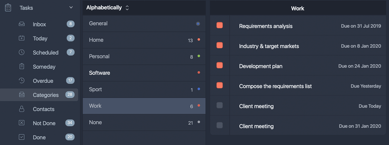 Assigning categories allows you to categorize and group tasks. The system allows user to choose one of 5 standard categories or add up to 15 personal categories. Each category has its unique color.