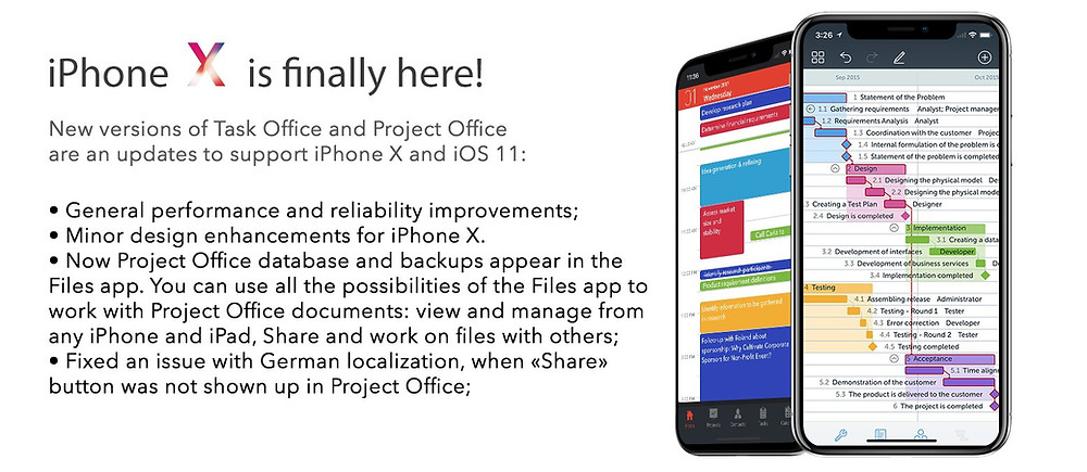 iPhone X is finally here! Task Office 3.1.1 and Project Office 2.3.1 is an update to support iPhone X and improves support for iOS 11