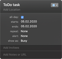 if task in Apple Calendar is All-day ON, then in Task Office app it will be a ToDo type