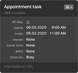 if task in Apple Calendar is All-day OFF, then in Task Office app it will be an Appointment type
