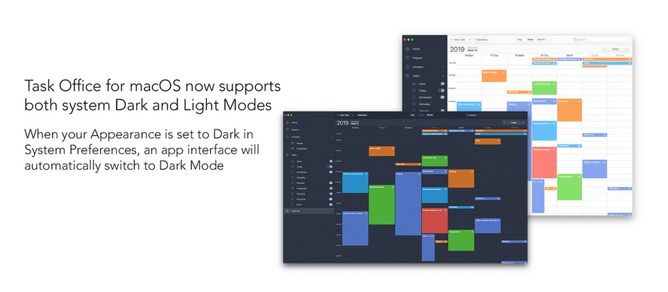 Task Office for macOS now supports both system Dark and Light Modes