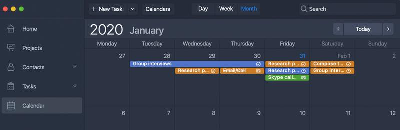 Month Calendar view