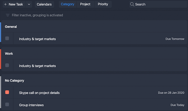 Use the segment controller on the toolbar for easy grouping tasks by Categories, Projects or Priority.