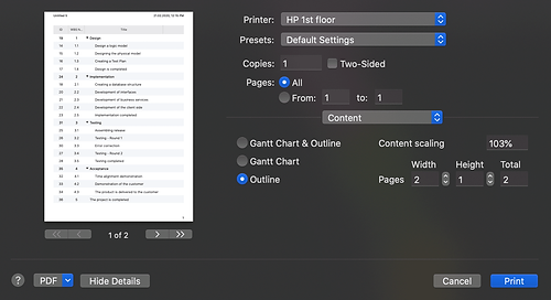 Content menu allows you to choose whether to print the Outline only.