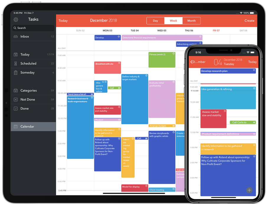 Calendar integration allows to see all todos, appointments and email/calls planned in the Today and Scheduled lists.
