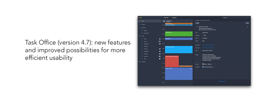 Task Office (version 4.7): new features and improved possibilities for more efficient usability