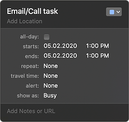if task in Apple Calendar is All-day OFF and Due date will be the same as Start date, then in Task Office app it will be an Email/Call type