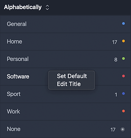 """Default category is """"None"""". You can choose a default category, that will be assigned to each of your task.To set default category, right mouse button clickcategory title and choose Set Default option. To save changes press Enter button on the keyboard."""