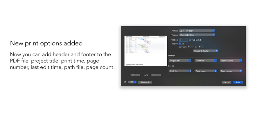 New print options: add header and footer to the PDF file