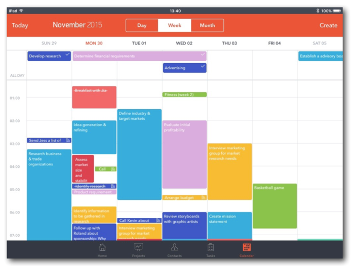 The fifth and final button takes you to a calendar, which can be viewed in day, week or month view. When a task is marked as done, it's crossed out, but remains on the calendar. You can review all tasks from the calendar, tap to make changes, and send emails from them. The app's drag and drop feature also lets you rearrange tasks easily.