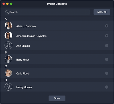 Both New Contact and New Company window allows you to add detailed information and assign projects. To import contacts, click Importbutton. Afterwards the system will show an Import Contacts window with the list of all contacts from your device contacts book.