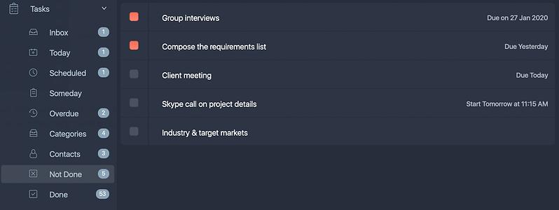 Not Done tab comprises all incomplete tasks with Open, In Progress, Pending status.