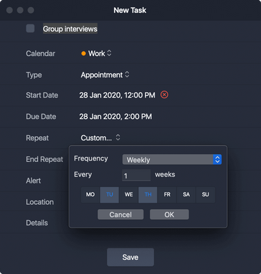 Repeating tasks take the work out of tasks that you need to complete daily, weekly, monthly, annually and etc.  When you complete an occurrence of your task (or if it becomes overdue), the next occurrence will automatically populate in your schedule.