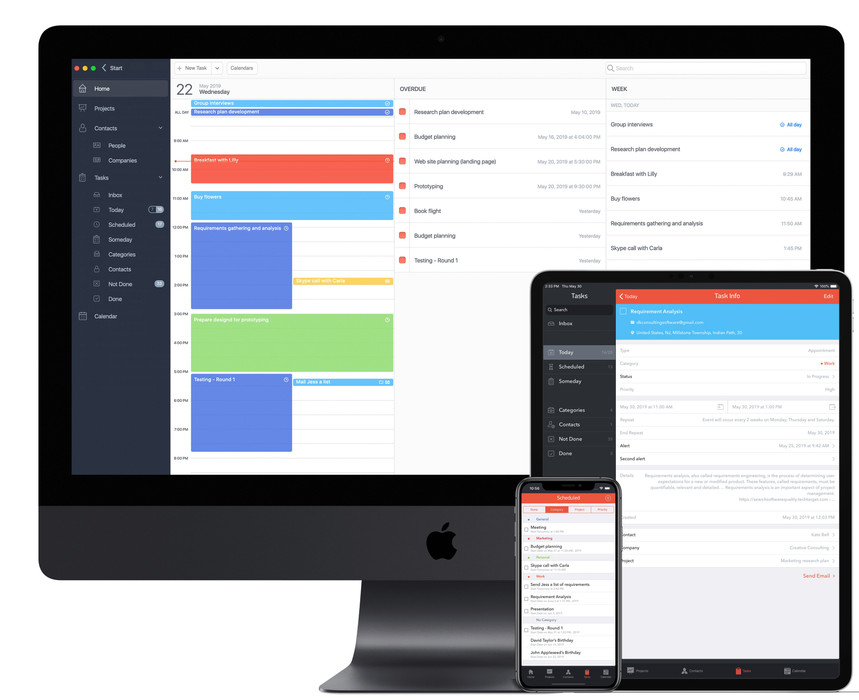 Task Office is available on all your Apple devices. Both apps need to be purchased if you wish to run software on both Mac and iOS platform, and each iOS app is fully sync-compatible with its Mac counterpart and vice versa