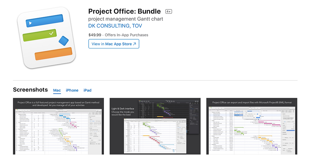 The macOS version of Project Office app is included in a universal purchase, allowing to enjoy an app and in‑app purchases across iOS, iPadOS and macOS by purchasing only once.  Get started by using a single bundle ID for your apps in Xcode and setting up your app record for universal purchase in App Store Connect.