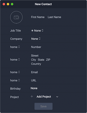 An app allows to create New Contact/Company directly in the App or import existing contacts from your Mac to App contacts book.