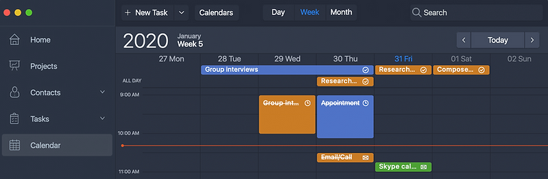 Week Calendar view