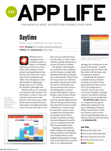 Task Office for iOS at Mac|Life 109 (December 2015) magazine. If you want to get more info on how the app work, on all its peculiarities and features, you should definitely go through this article