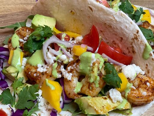 Shrimp Tacos with Cilantro Crema