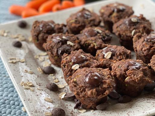 Zucchini Carrot Oat Cocoa Muffins
