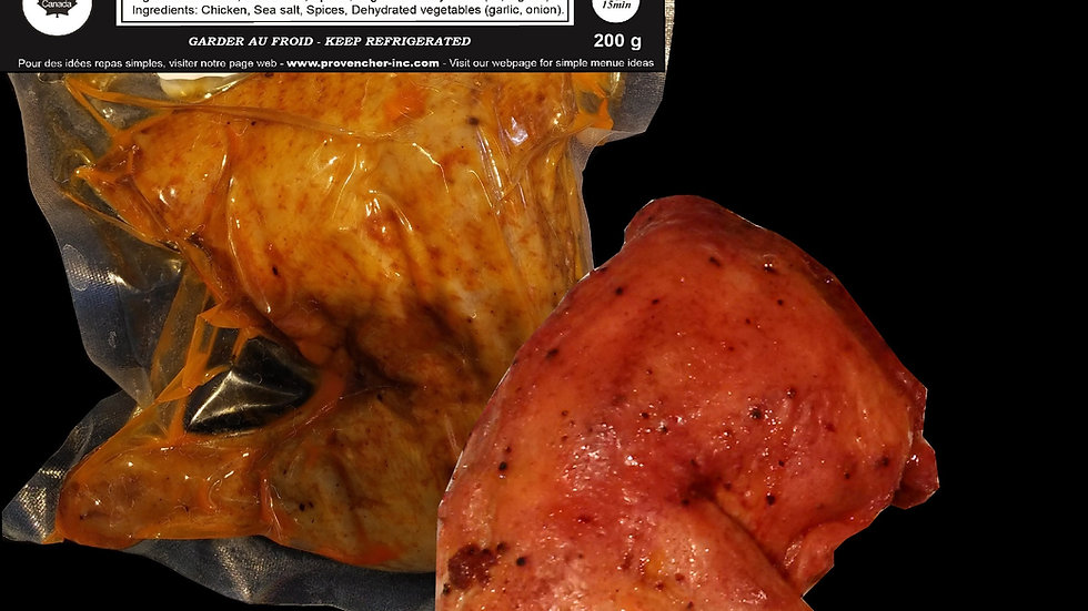 Poulet-Rotie et cuit sous vide pret en 15 minute.
