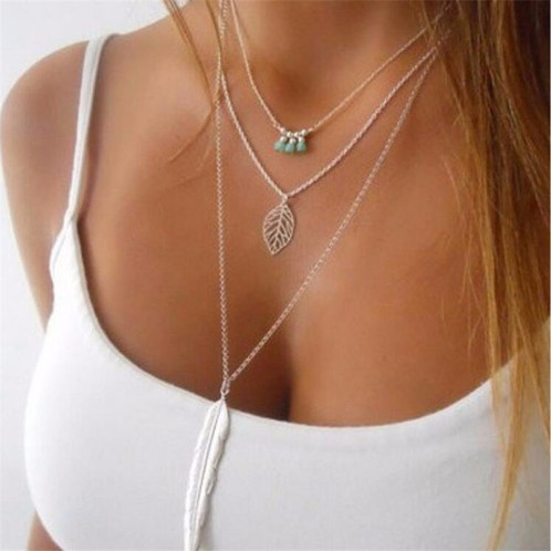 Leaf long pendant necklace 3 layer chain nativcollection aloadofball Gallery