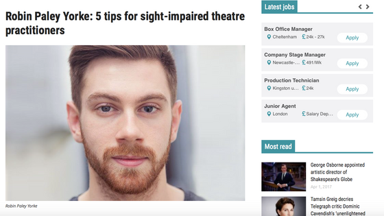 5 Tips article in The Stage