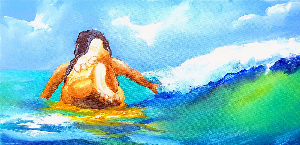 Barefoot Delight is 10x20 Acrylic. Original Art.